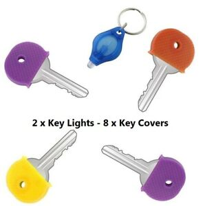 LED Key Light x 2 Keychain Fob Ring Cover Holder Torch Flash Battery ... 84b9924ecf82