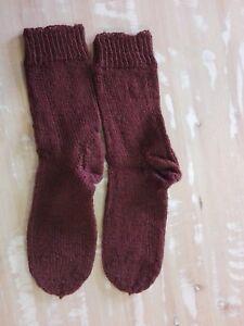 Chaussettes Tricotées Marron (à La Main)-afficher Le Titre D'origine