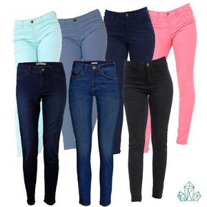 Nuevas-senoras-para-mujer-ex-Zara-Jeans-Lavado-Stretch-Pantalon-Azul-Marino-Rosa-Negro-Como-Nuevo
