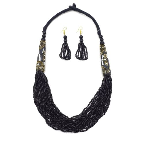 Bajalia Seed Bead Necklace Multi Strand Layered Necklace Tibetan Brass Charms
