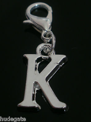 Silver Plated Alphabet Initial Letter & Number Clip On Charms for Bracelets