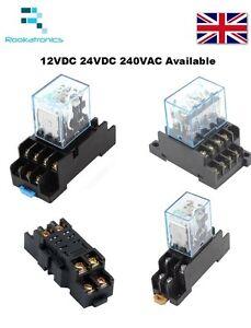 Bobina-12V-24V-240V-proposito-general-reles-8-14-pin-con-Enchufes-DIN-Interruptor-DPDT-4PDT