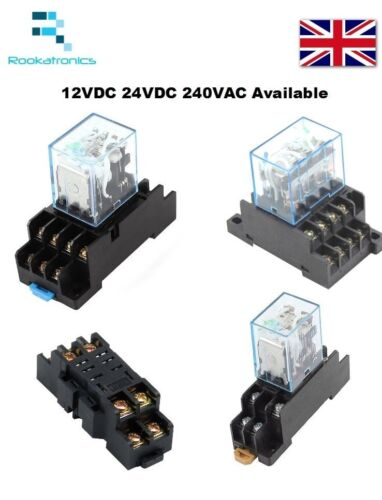 12V//24V//240V Coil General purpose Relays 8//14 Pin with DIN Sockets DPDT//4PDT