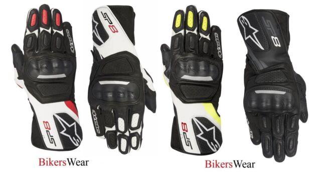 Alpinestars SP-8  SP8 V2 White//Blk//Red Leather Racing /& Sport Motorcycle Gloves