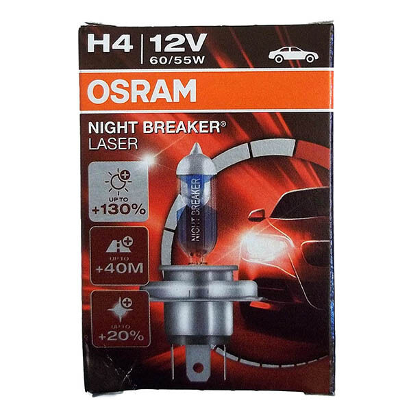 OSRAM H4 Night Breaker LASER 60/55 Watt 12 Volt PKW Bilux Autolampe Front Birne