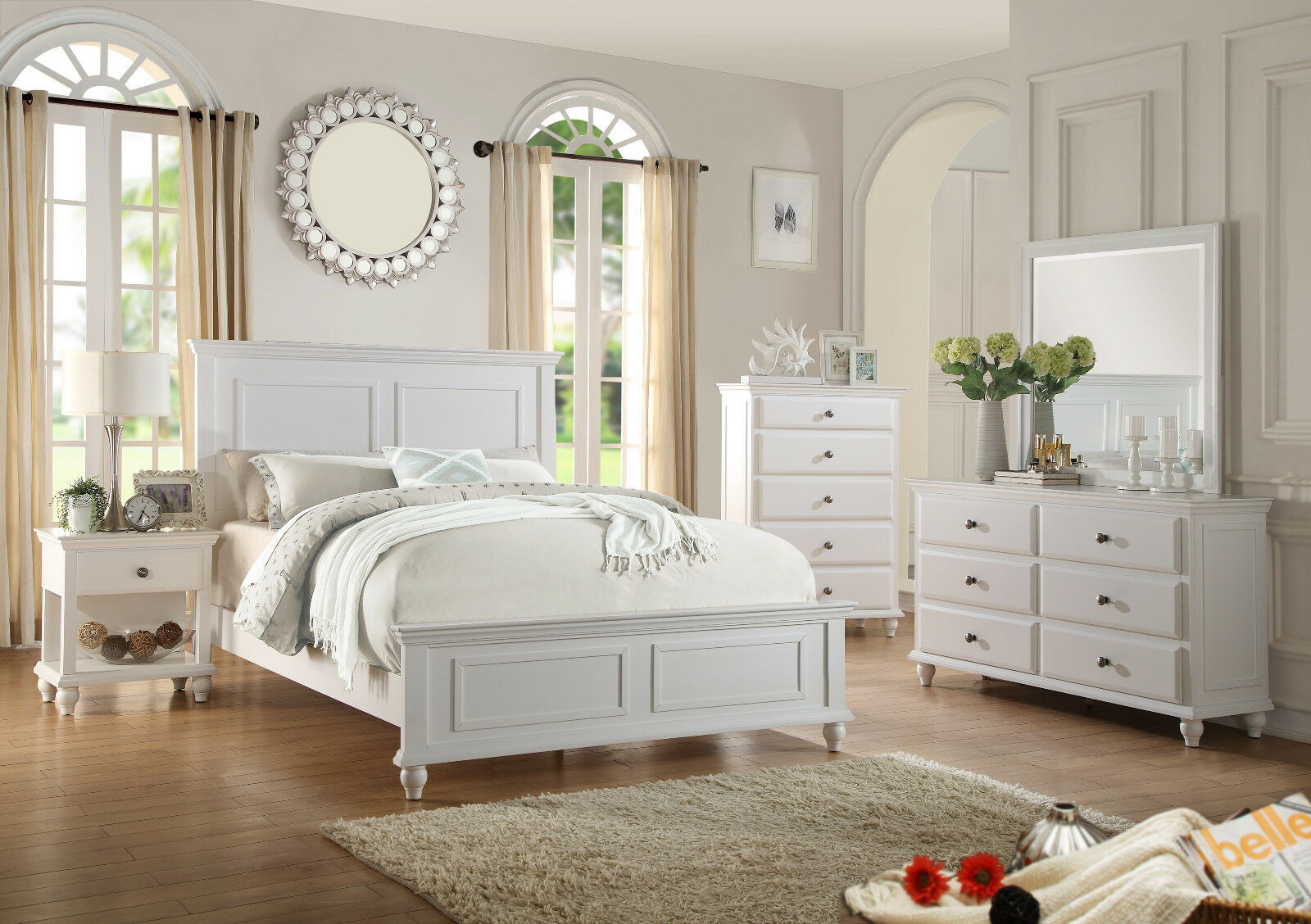 Contemporary Bedroom 4p Set Eastern King Bed Dresser Mirror & NS White  Furniture