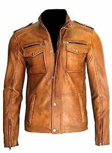 Men-039-s-Motorcycle-Real-Lambskin-Tan-Brown-Leather-Distressed-Moto-Biker-Jacket