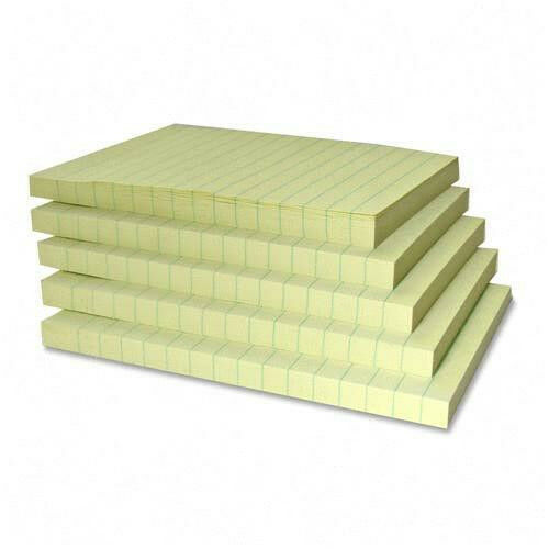 """Sparco Adhesive Recycled Paper Note Pads Ruled, 5 of 100 Sheets, 4""""x6""""  Yellow"""