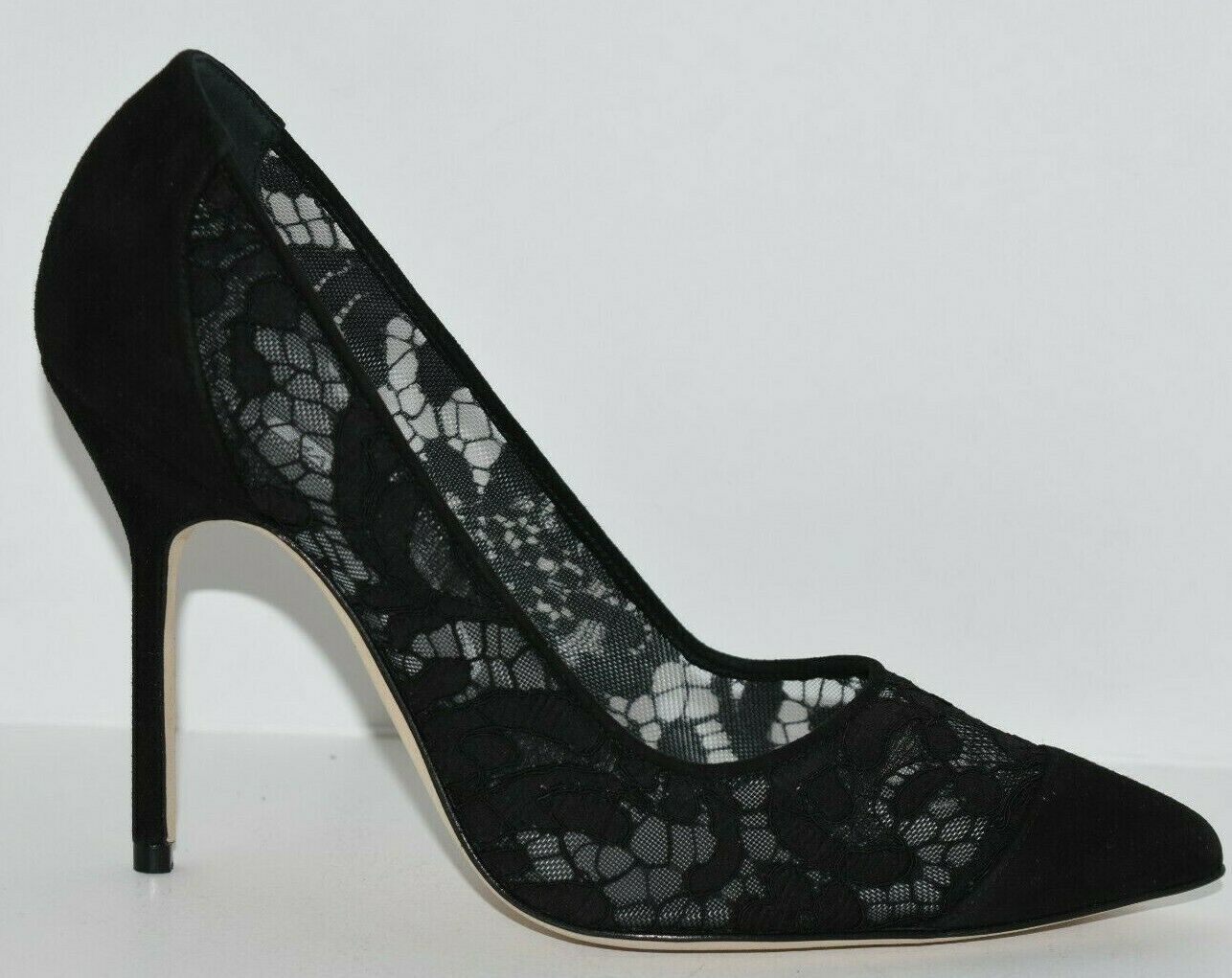 745 NEW Manolo Blahnik SALOLA BB Lace Suede Pump Black shoes 35 35.5 37 38.5 39