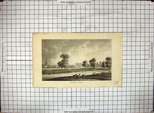 Old-Antique-Print-Engraving-View-Corsham-House-Horses-River-Church-Trees-18th