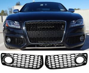 RS5-Look-Glanz-Schwarz-Fuer-AUDI-A5-S5-S-line-08-12-Kuehlergrill-Wabengrill-Grill