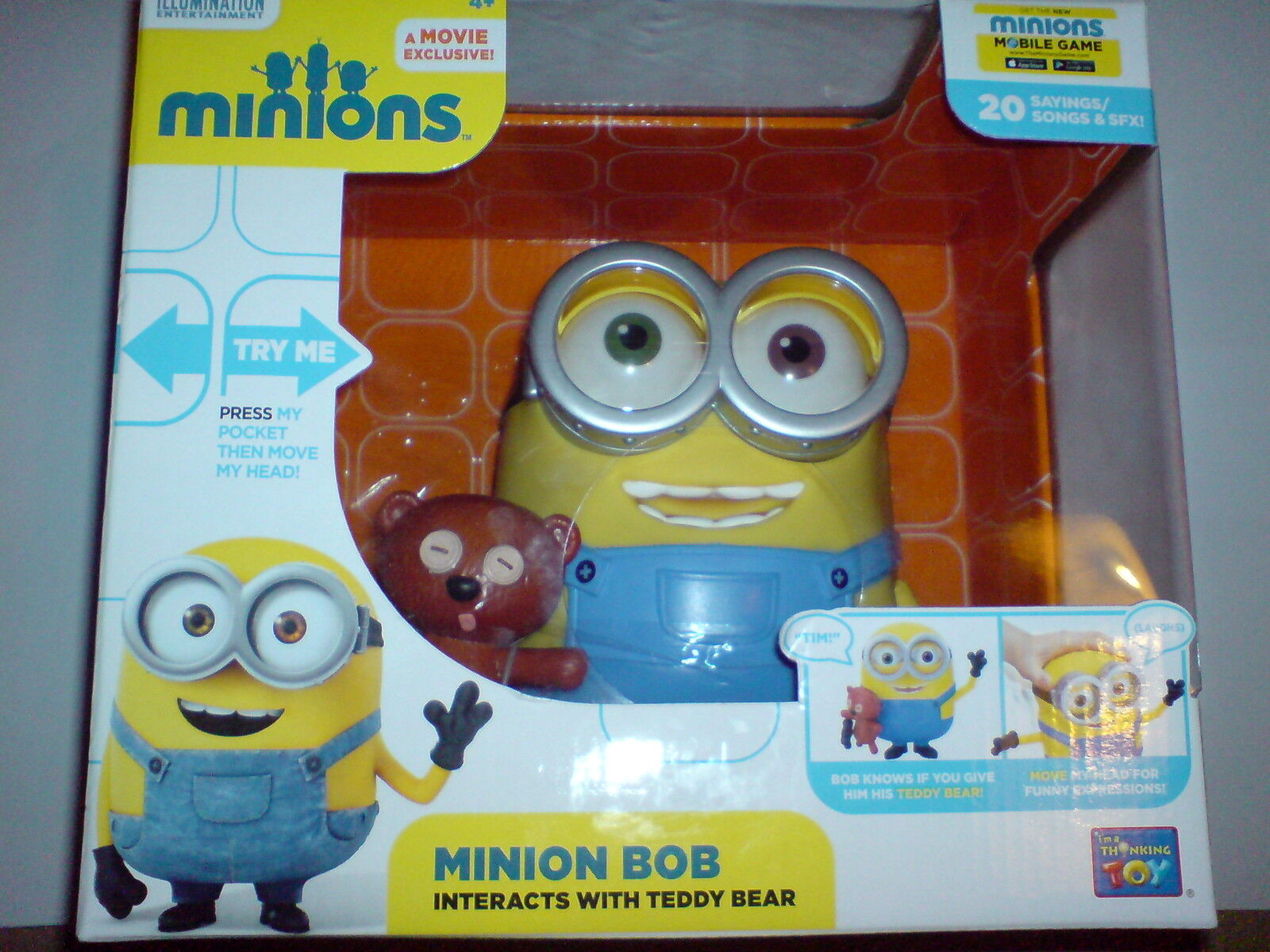 MINIONS MOVIE - MINION BOB AND TEDDY BEAR TALKING ACTION FIGURE NEW - VERSION  3