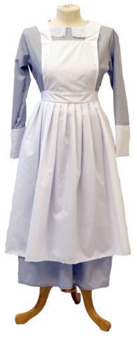 Victorien//Historique//années 1940 Femmes Gris NOUNOU//Gouvernante Robe /& Tablier taille 10-26