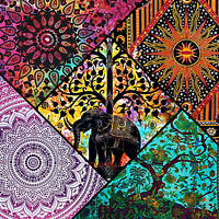 Tapestry Wall Hanging Indian Bedspread Large Elephant Hippie Mandala Black White