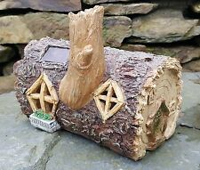 Solar Powered Garden Ornament Fairy log House Colour Change Log Home