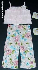 NEW-NWT-PLUM-PUDDING-Spring-Rose-Garden-2pc-Ruffle-Tank-Flower-Pant-Set-3T
