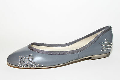 KMB Ballerinas Leder mit Nieten Muster Farbe Grau Gr. 37 - 42