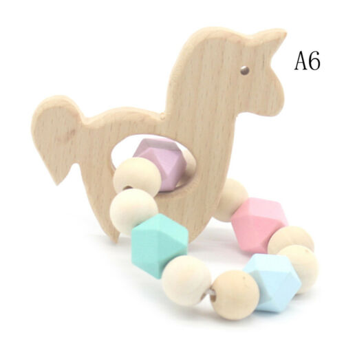 Baby Wooden Teether Animal Shape Chew Beads Teething Toy Baby Nursing Brace HI