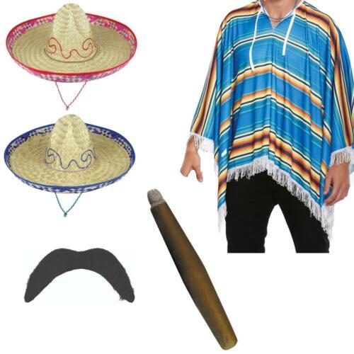 Mexican Poncho Bandit Costume Set Sombrero Hat Moustache /& Cigar
