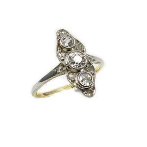 art deco ct diamant ring schiffchenform 18 k gold. Black Bedroom Furniture Sets. Home Design Ideas