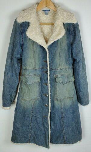 Delias Womens M Denim Duster Trench Long Coat Sher