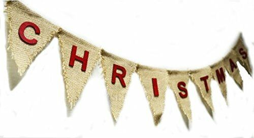 120cm Christmas Hessian Nordic Garland Flag Bunting Banner Wood Letters Reusable