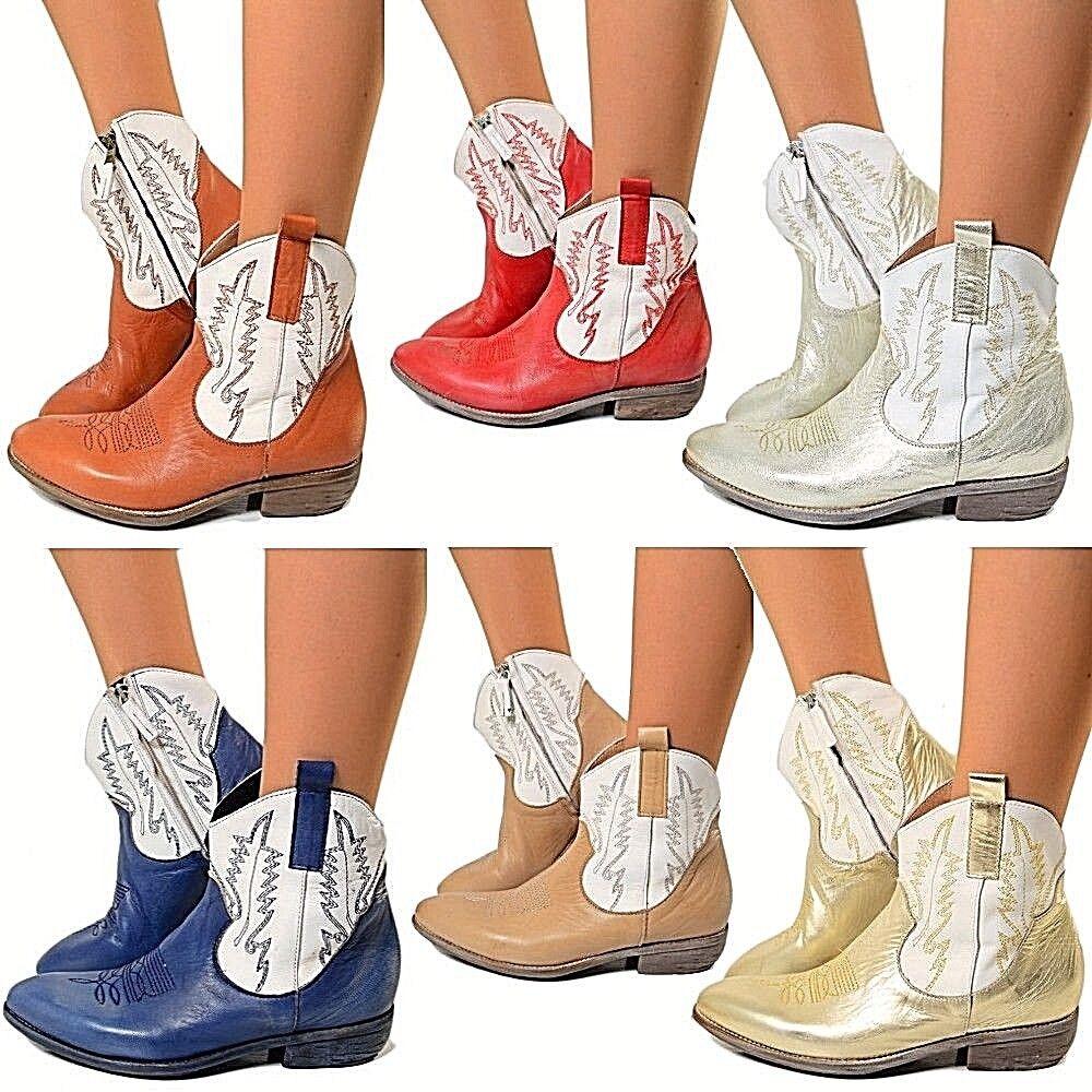 Damen Cowboystiefel Westernstiefel Echtleder Ankle Boots LIMITED EDITION Texric3