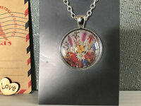Silver Plated Aus Post Stamp Art Floral Pendant Necklace Australian Hand Made