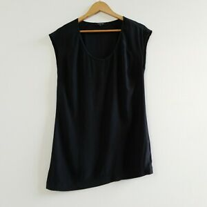 Pingpong Women's Silk Blouse Tank Top Sleeveless Asymmetric Hem Size 10