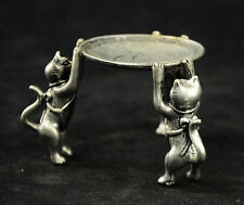 Chinese Tibet Silver Animal 3 Cat Oil Lamp Candle Holder Candlestick Statue