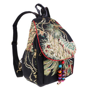 Canvas Backpack Women Rucksack Travel Bag Peacock Embroidery Bag Black