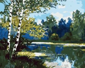 """Diy Paint By Number Kit 16x20"""" Acrylic Painting On Canvas Green Tree Lake 2292 Easy And Simple To Handle Crafts Art Supplies"""