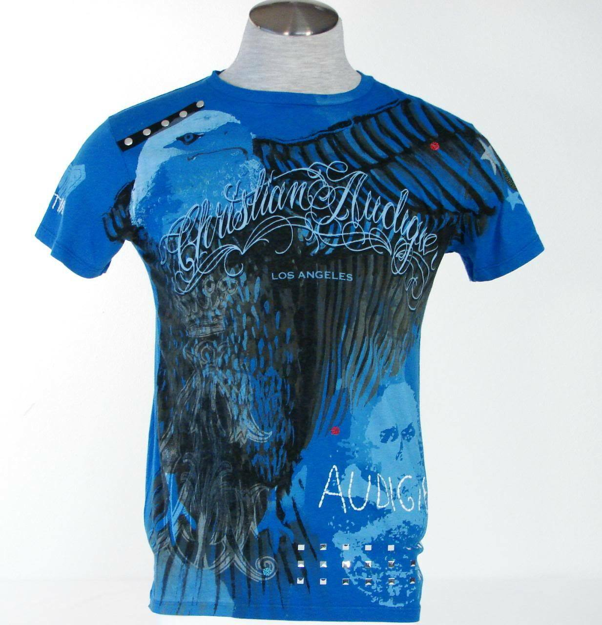 Christian Audigier bluee Tattoo Graphic Rhinestone Tee Shirt Men's Small S NEW