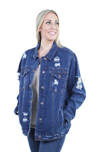 Women-039-s-Plus-Size-Oversize-Ripped-Denim-Jackets-Long-Sleeve-Jean-Coats
