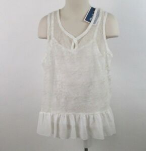 NWT-ZUNIE-Sleeveless-Top-with-Inner-Tank-Top-Ivory-Size-7-Tag-24