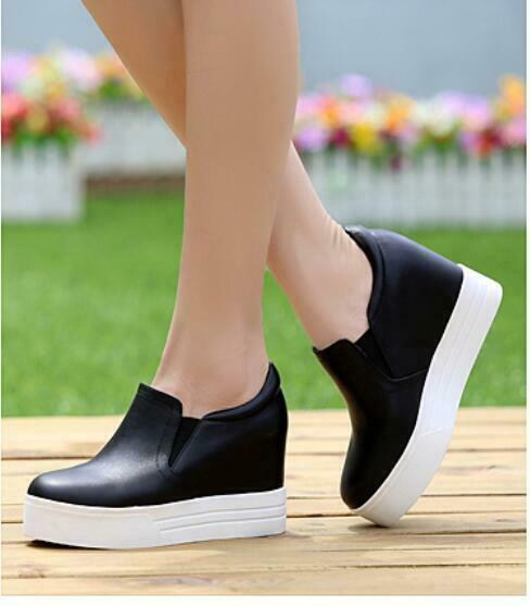 f327b094 2019 Moda Mujeres Cuero Mocasines Tacos Cuña Zapatos De Plataforma Plana  Informal Oculta Sin nvypdn2799-Zapatillas deportivas
