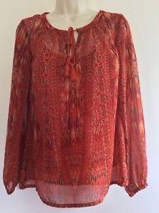 rose-and-olive-blouse-Red-Orange-Sheer-Long-Sleeved-With-Cami-XS