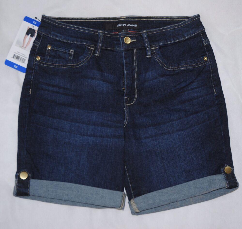 100% Vrai Dkny Jeans Femmes Bleu Foncé Jean Short Taille Uk 10 Bnwt Bon GoûT
