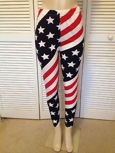 8b358ac19e Details about AMERICAN FLAG SPANDEX LEGGINGS USA STRIPES STARS RED/ WHITE/  NAVY BLUE XL/XXL