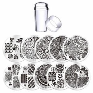 Kit-10x-Stencil-nail-art-stampo-unghie-acciaio-stampino-timbro-spatolina-BIUTEE