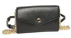 70a15ad463f8 Image is loading Michael-Kors-Womens-Black-Leather-Goldtone-Crossbody- Envelope-