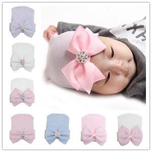 Newborn-Baby-Cotton-Bow-Soft-Stretchy-Hospital-Hat-Beanie-Infant-Girl-Boy-Kid