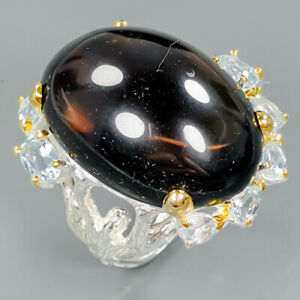 Handmade40ct-Natural-Smoky-Quartz-925-Sterling-Silver-Ring-Size-9-5-R89413