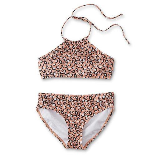 Joe Boxer Girls 2-Piece Halter Bikini Swim Suit Size 16 Cheetah NWT