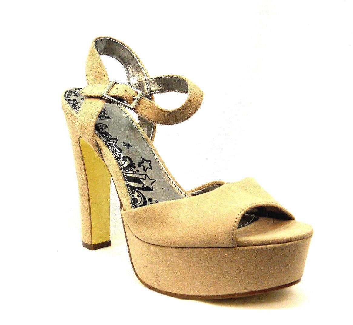 Brash Women's Suede Platform Heels Open-Toe Beige Size 10 (M)