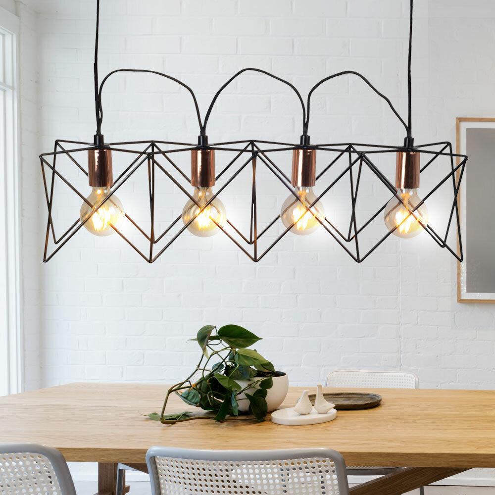 Vintage Decken Pendel Leuchte kupfer Wohn Ess Zimmer Retro Hänge Lampe schwarz