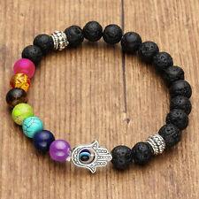 Chakra Healing Lava Stone Bead Aromatherapy Bracelet - Hamsa Hand / Oil Diffuser
