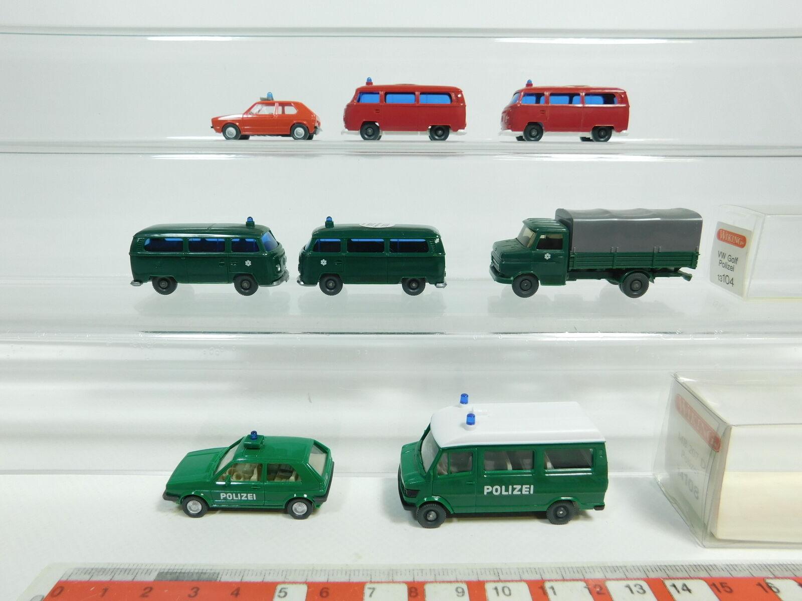 Bd363-0, 5  8x Wiking h0 1 87 Pompiers FW Police-Modèle  603 VW + Opel + MB, S.G.