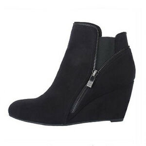 WOMEN-SHOES-DESIGNER-BLACK-MICROFIBRE-SUEDE-WEDGE-HEEL-ANKLE-BOOTS