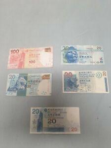 5X-BANKNOTEN-Hongkong-Dollar